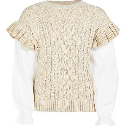 Age 13+ Girls beige frill 2 in 1 jumper
