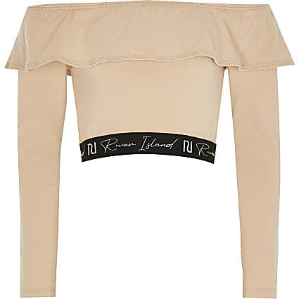 Age 13+ girls beige frill bardot crop top