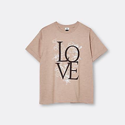 Age 13+ girls beige 'Love' graphic t-shirt