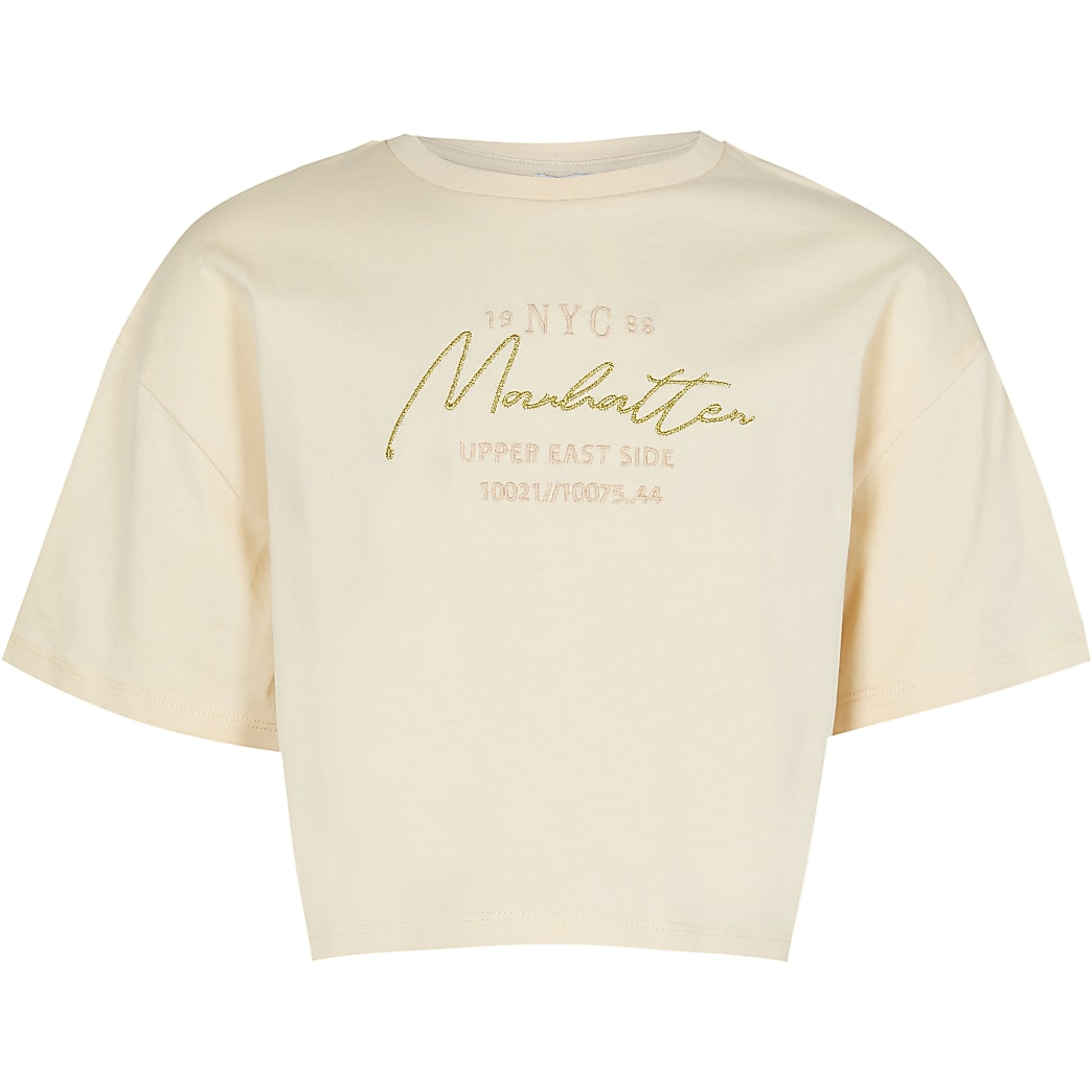 Age 13+ girls beige New York t-shirt