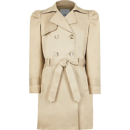 Age 13+ girls beige pleated back trench coat