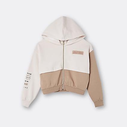 Age 13+ girls beige RI colour block hoodie
