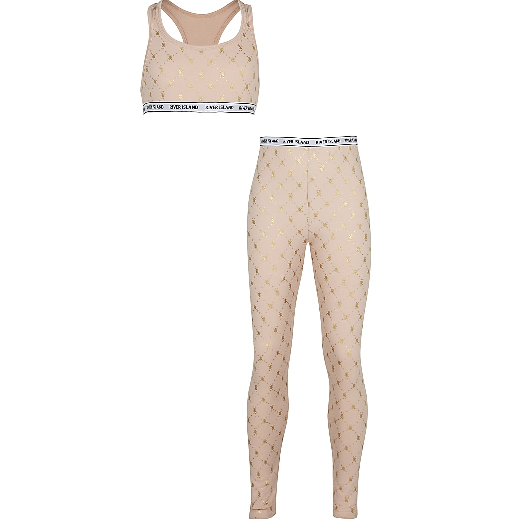 Age 13+ girls beige RI monogram leggings set
