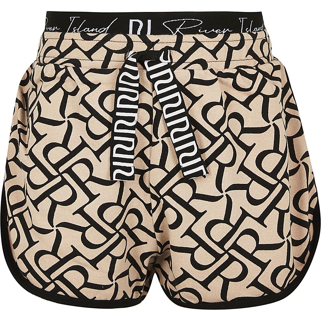 Age 13+ girls beige RR monogram runner shorts