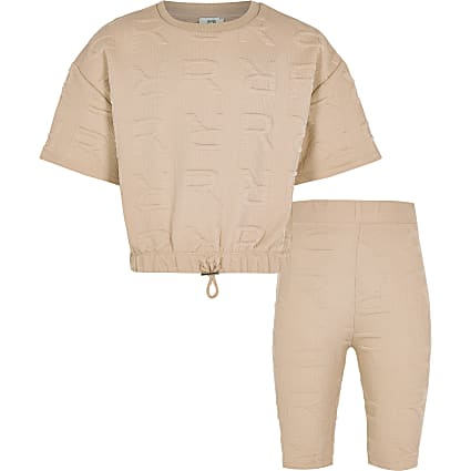Age 13+ girls beige RR monogram shorts set
