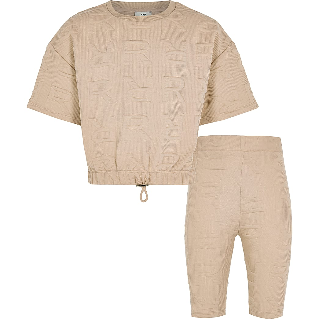 Age 13+ girls beige RR monogram shorts set