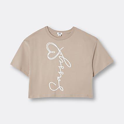 Age 13+ girls beige 'Sassy' print t-shirt