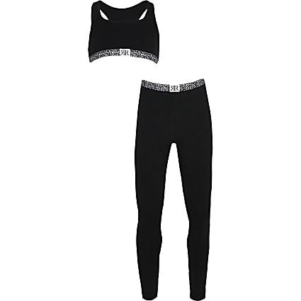 Age 13+ girls black animal print leggings set