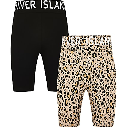 Age 13+ girls black animal print short 2 pack