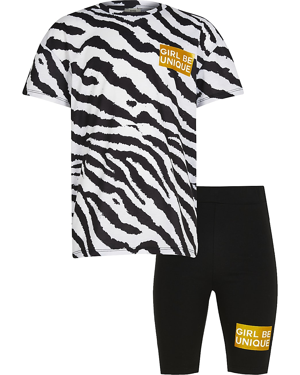 Age 13+ girls black animal print shorts set
