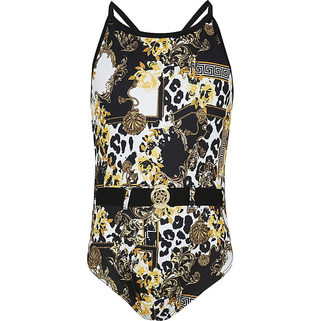 Age 13+ girls black baroque swimsuit