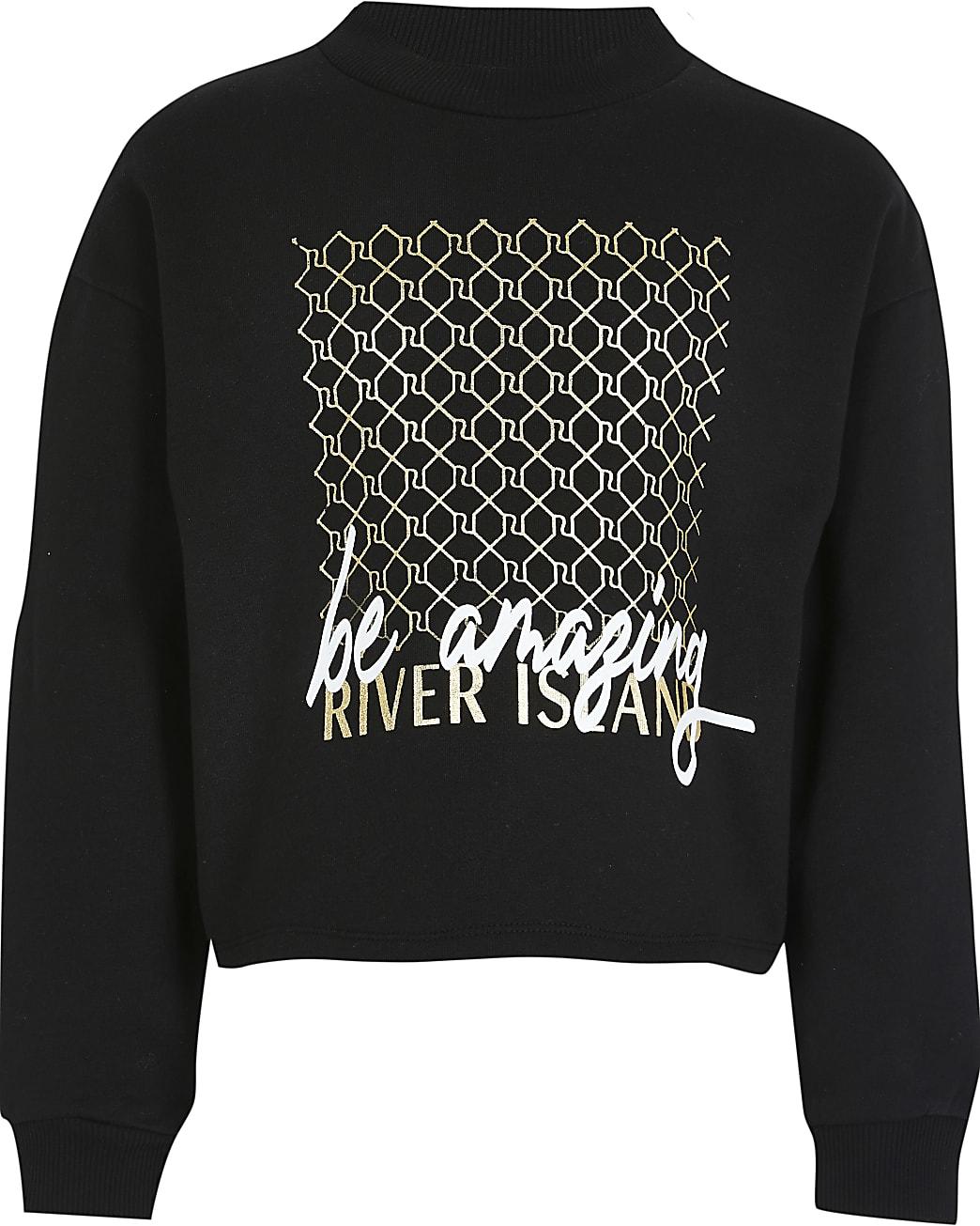 Age 13+ girls black 'Be amazing' sweatshirt