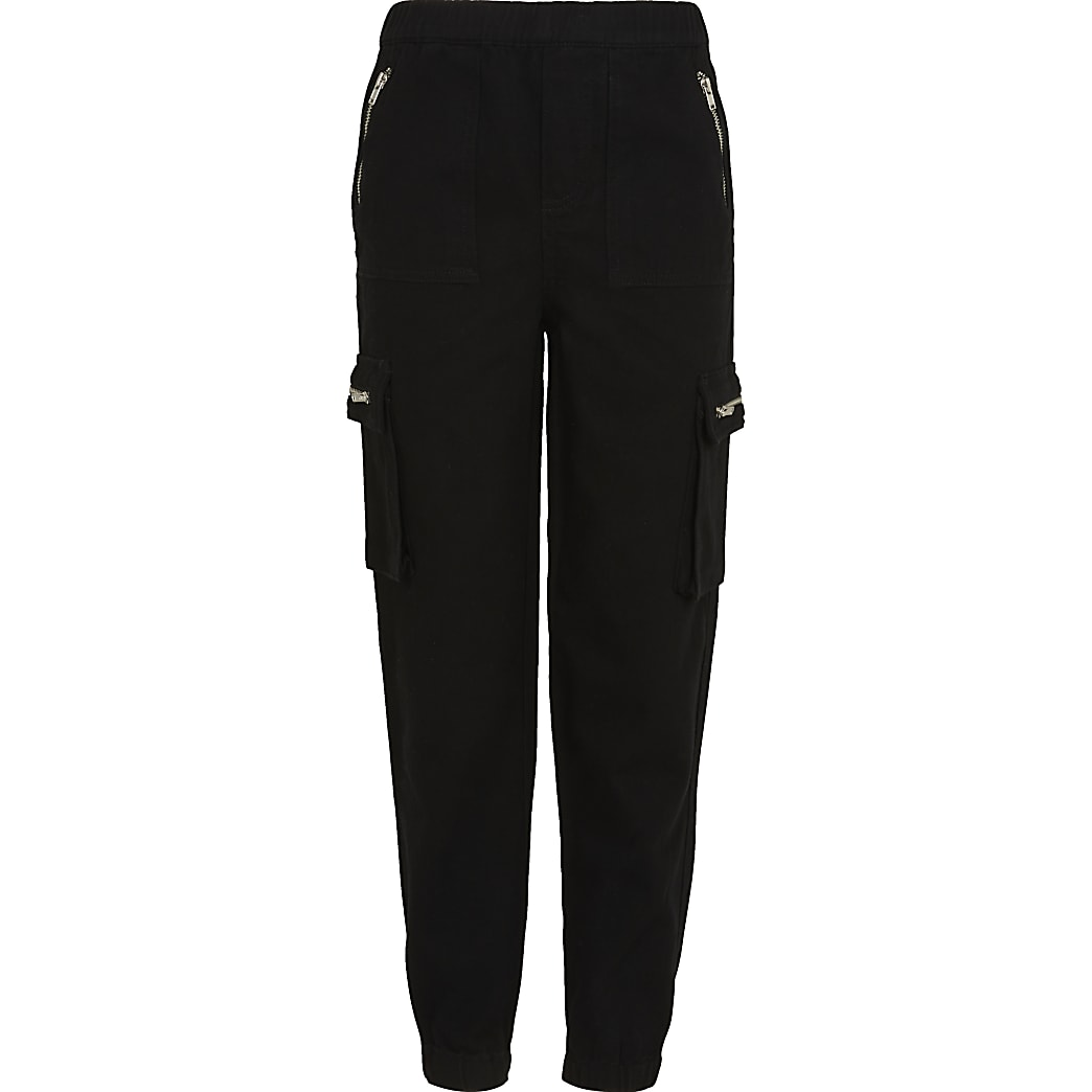 Age 13+ girls black biker cargo joggers
