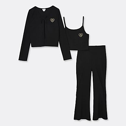 Age 13+ girls black cardigan 3 piece outfit
