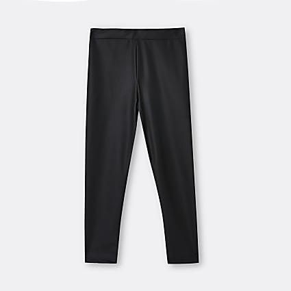 Age 13+ girls black coated matte leggings