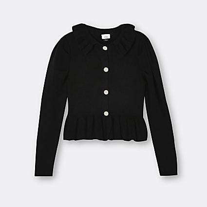 Age 13+ girls black collared peplum cardigan