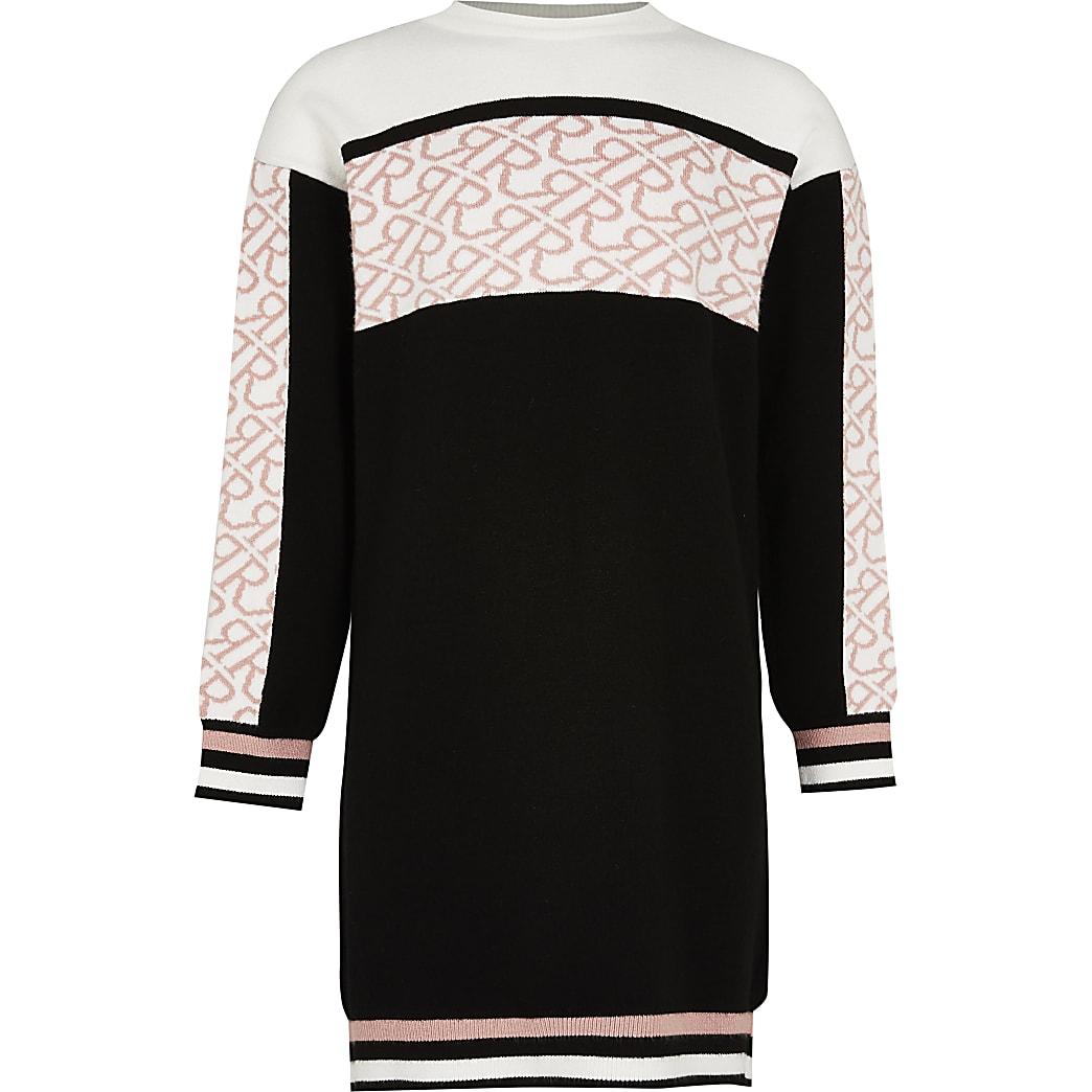 Age 13+ girls black colour block jumper dress
