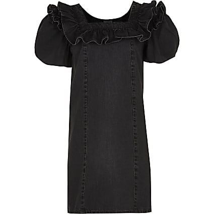 Age 13+ girls black denim puff sleeve dress