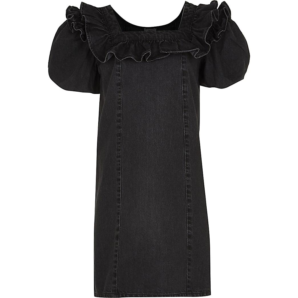 Age 13+ girls black denim puff sleeve dress