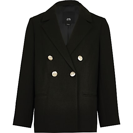 Age 13+ girls black double breasted blazer