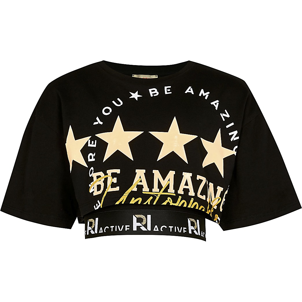 Age 13+ girls black double layer t-shirt crop