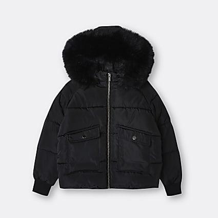 Age 13+ girls black faux fur hood puffer coat
