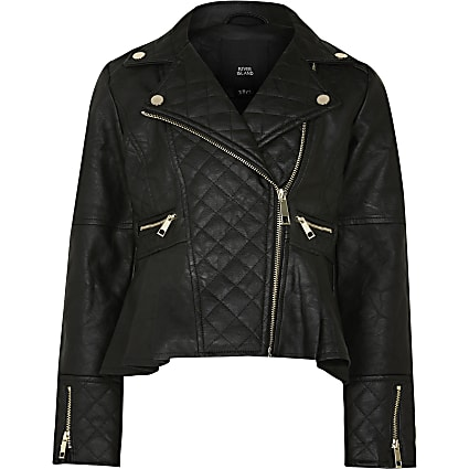 Age 13+ Girls black faux leather biker jacket