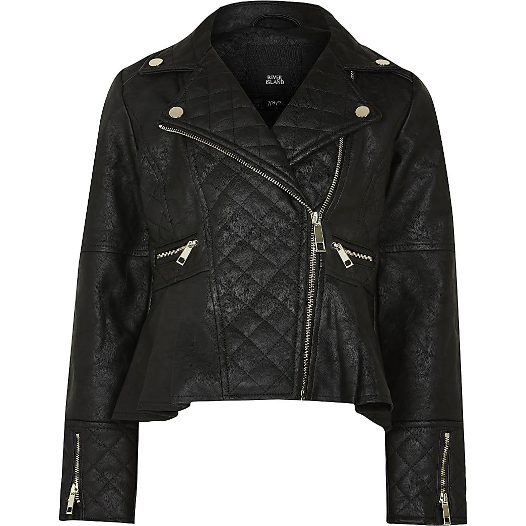 Age 13+ Girls black faux leather biker jacket