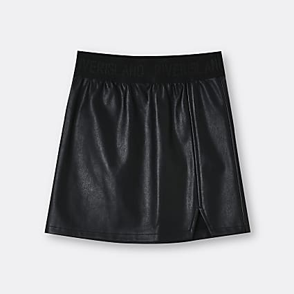 Age 13+ girls black faux leather skirt