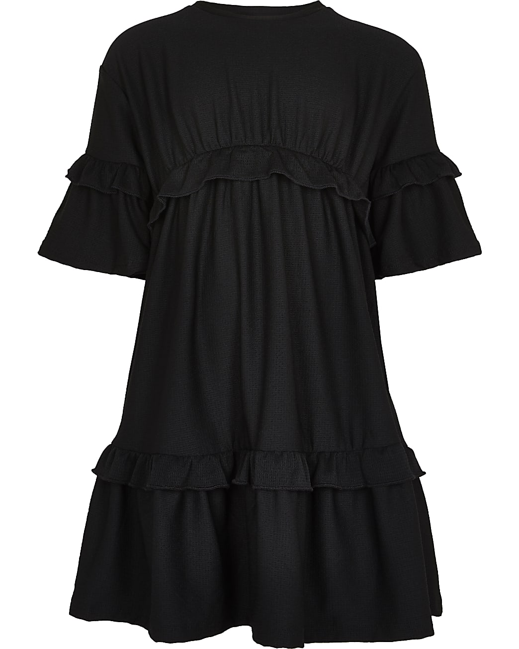 Age 13+ girls black frill hem t-shirt dress