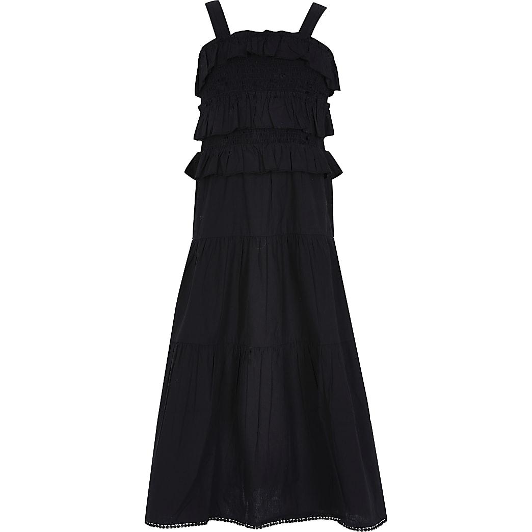 Age 13+ girls black frill maxi dress