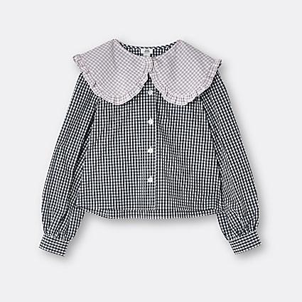 Age 13+ girls black gingham collared shirt