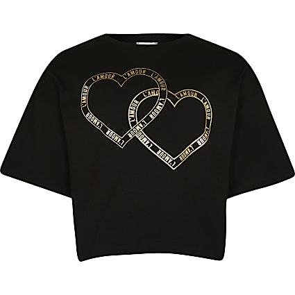 Age 13+ girls black heart slogan t-shirt