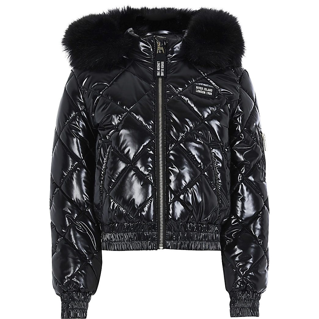 Age 13+ Girls Black High Shine Padded Bomber
