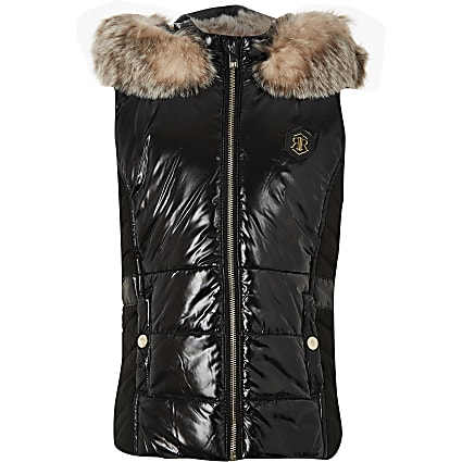 Age 13+ girls black high shine padded gilet
