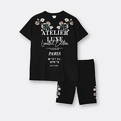 Age 13+ girls black 'L'amour' t-shirt set