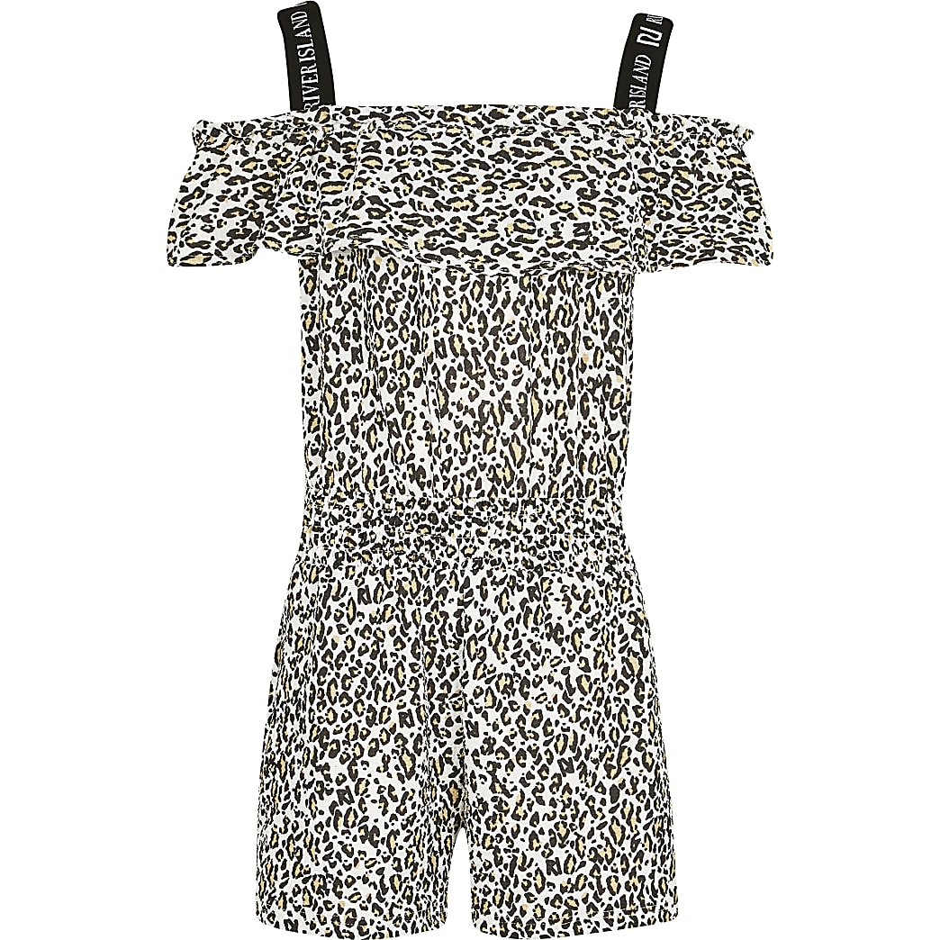 Age 13+ girls black leopard print playsuit