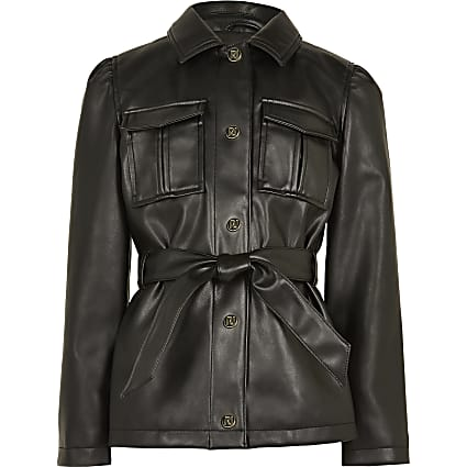 Age 13+ girls black longline belted jacket