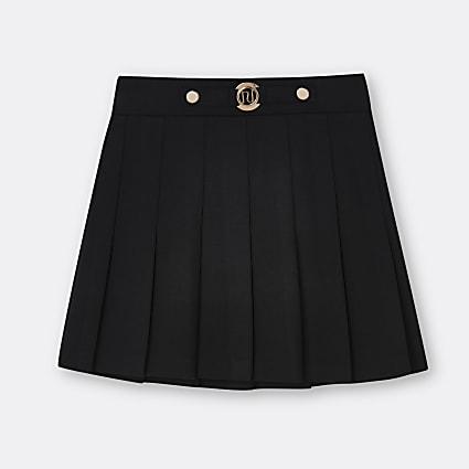 Age 13+ girls black pleated ponte RI skirt