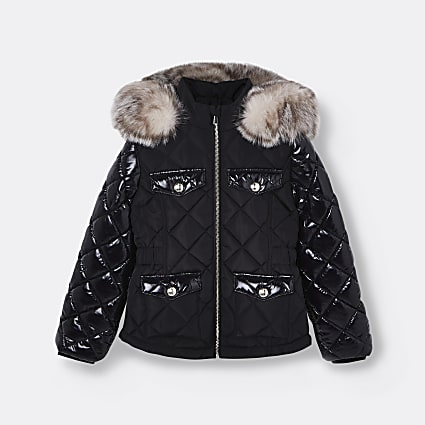 Age 13+ girls black quilted hood puffer coat