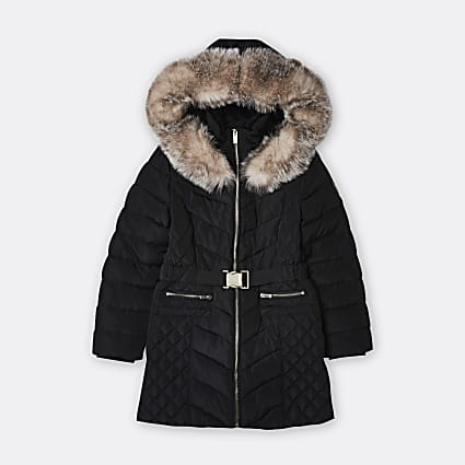 Age 13+ girls black quilted puffer coat
