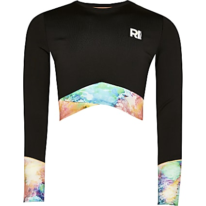 Age 13+ girls black RI Active crop top
