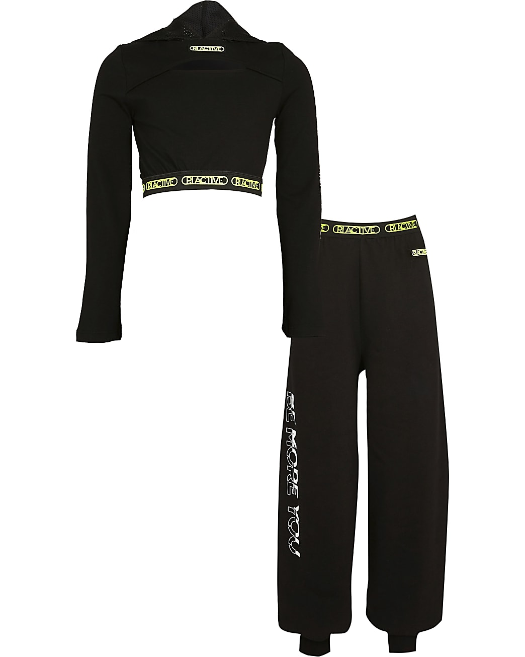 Age 13+ girls black RI active hoodie outfit