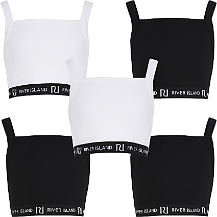 Age 13+ girls black RI crop tops 5 pack