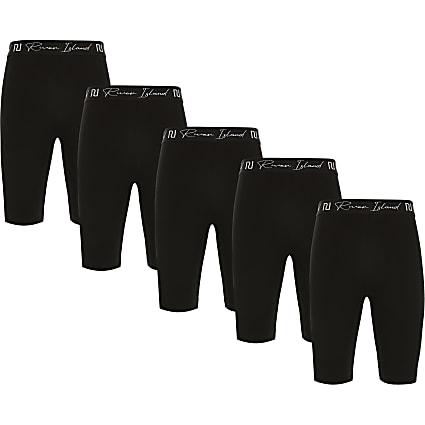 Age 13+ girls black RI cycling shorts 5 pack