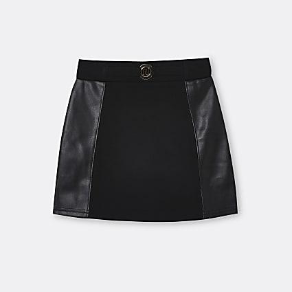 Age 13+ girls black RI faux leather skirt
