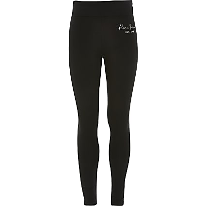 Age 13+ girls black RI fold over leggings