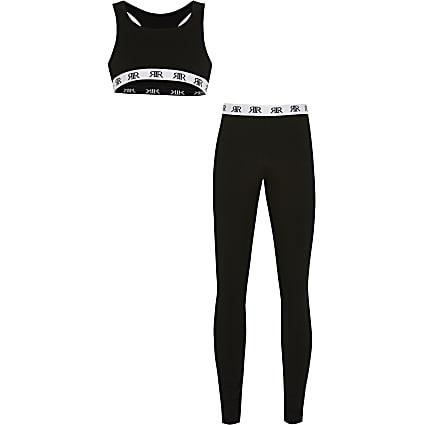 Age 13+ girls black RI leggings outfit
