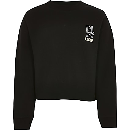 Age 13+ girls black RI luxe sweatshirt