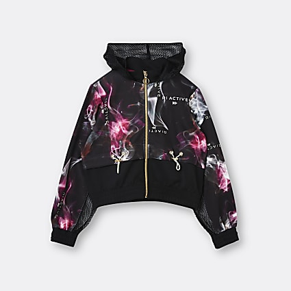 Age 13+ girls black RI smoke print hoodie